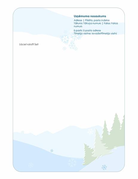 Vēstuļpapīra iespiedveidlapa ar ziemas tēmu