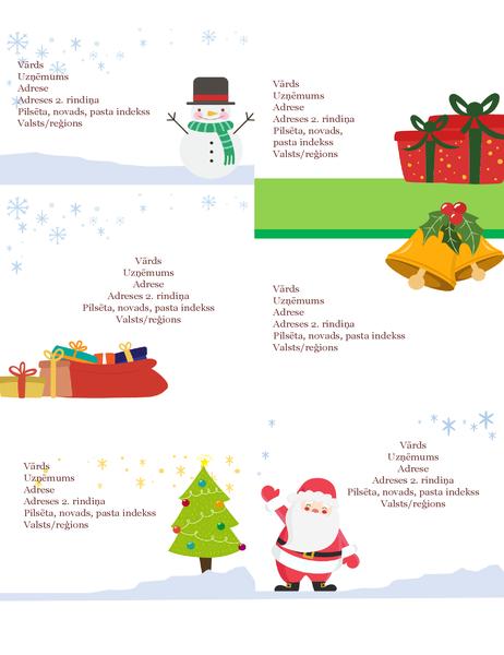 Svētku adrešu uzlīmes (Ziemassvētku gara noformējums, 6 vienā lappusē, piemērotas Avery 5164 un līdzīgiem papīriem)
