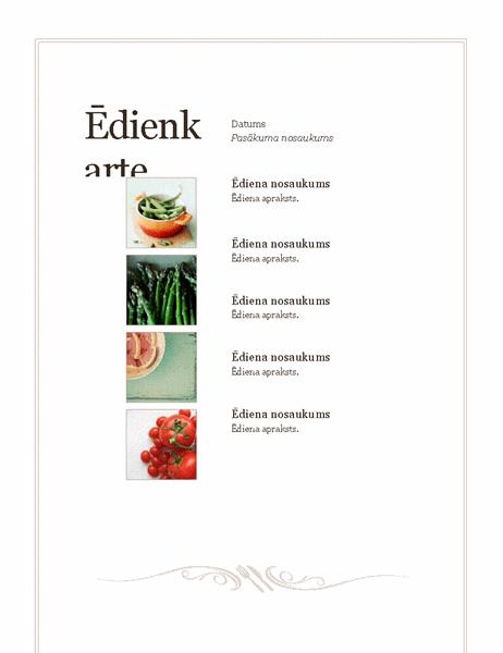 Pasākuma ēdienkarte (vienkāršais noformējums)