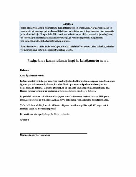 Nomnieka iesniegums par īres līguma pagarināšanas iespējas izmantošanu