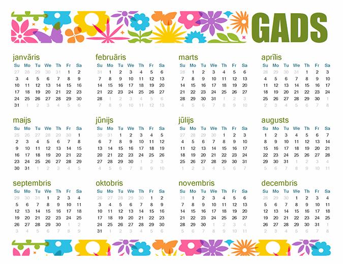 Rotaļīgs kalendārs jebkuram gadam