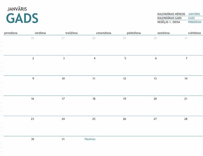 Viena mēneša kalendārs ar piezīmēm jebkuram gadam