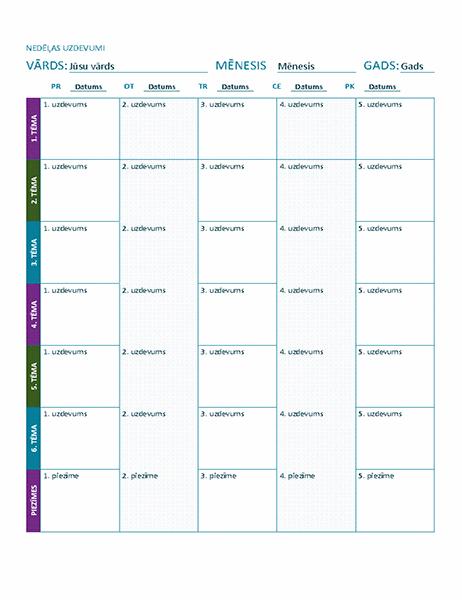 Nedēļas uzdevumu lapa (krāsu)