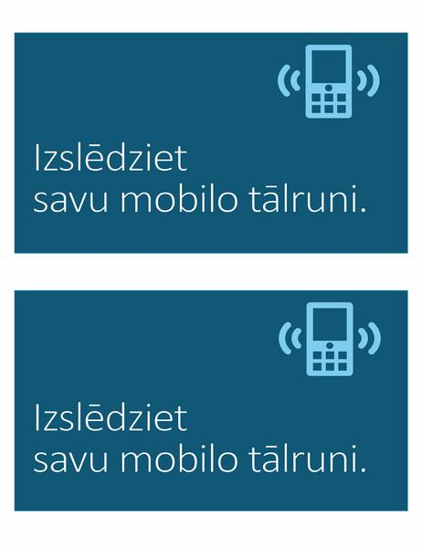 Mobilo tālruņu lietošanas aizlieguma zīme (2katrā lappusē)