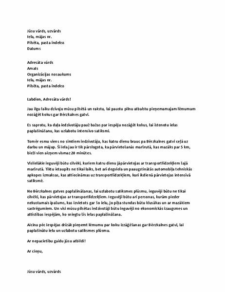 Atbalsta vēstule vietējai amatpersonai