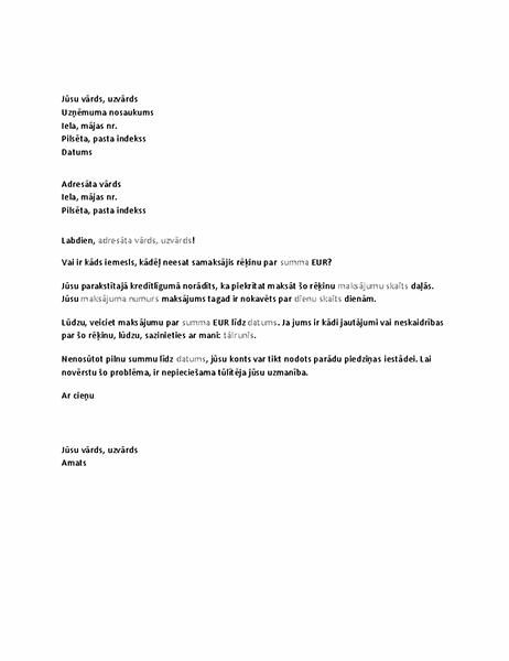 Vēstule, kur tiek pieprasīts konta kavēts maksājums