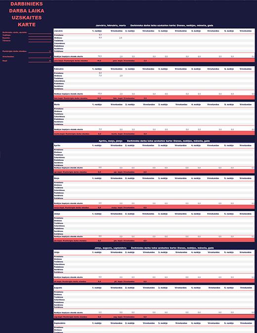 Darbinieka darba laika uzskaites tabula (nedēļai, mēnesim, gadam)