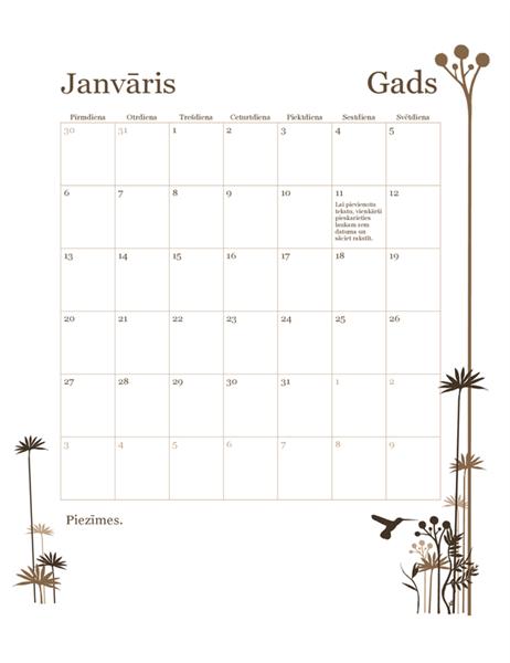 12mēnešu kalendārs (Pr–Sv) ar kolibri motīvu