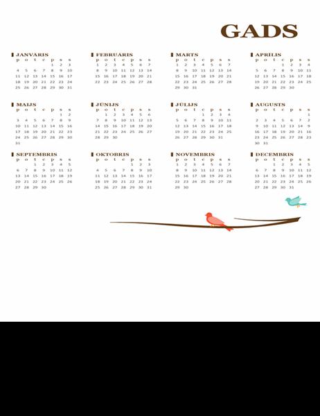 Gada kalendārs (Pr–Sv) ar putnu motīvu