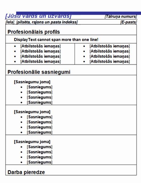 """Funkcionāls CV (noformējums """"Zilā līnija"""")"""