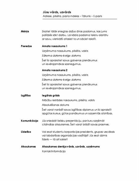 Hronoloģisks CV (minimālistisks noformējums)