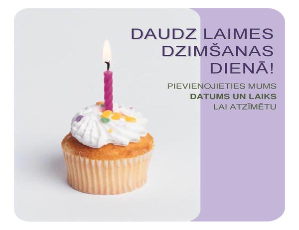 Dzimšanas dienas ielūguma skrejlapa (ar kūkas attēlu)