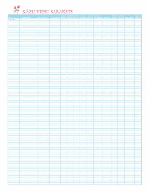 Kāzu viesu saraksts (ar tulpju noformējumu)