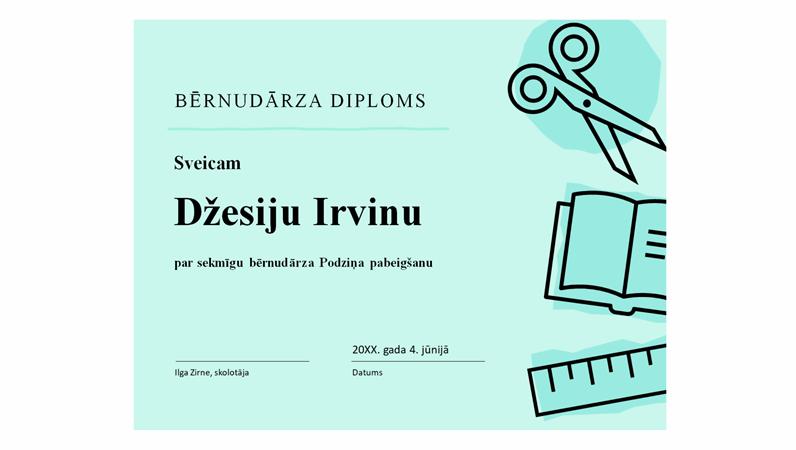 Bērnudārza diploma sertifikāts
