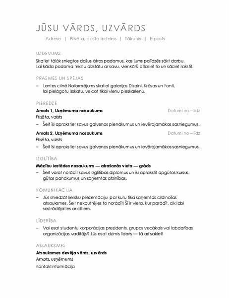 CV (minimālistisks noformējums)