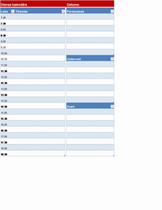 Tukšs dienas kalendārs