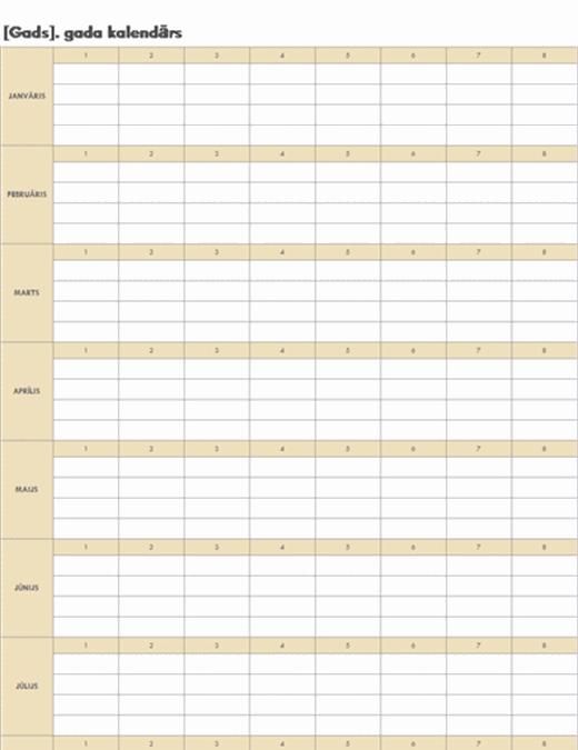Nepārtraukts kalendārs (horizontāls)
