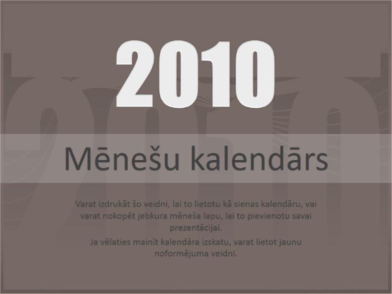 2010. gada kalendārs (pirmdiena—svētdiena)