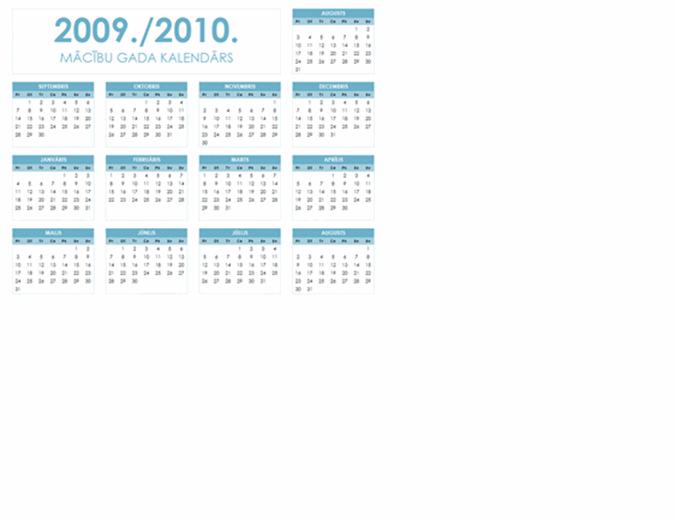 2009./2010. akadēmiskā gada kalendārs (1 lapa, ainavorientācija, pirmdiena–svētdiena)