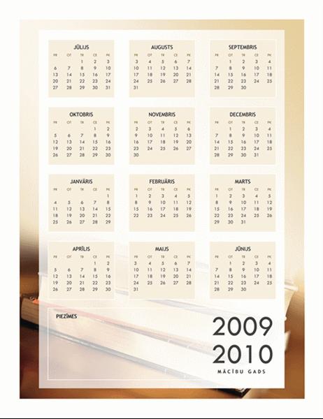 2009./2010. akadēmiskā gada kalendārs (1 lapa, pirmdiena–svētdiena)