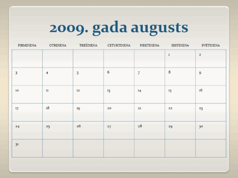 2009./2010. akadēmiskā gada kalendārs (13. lpp., pirmdiena–svētdiena)