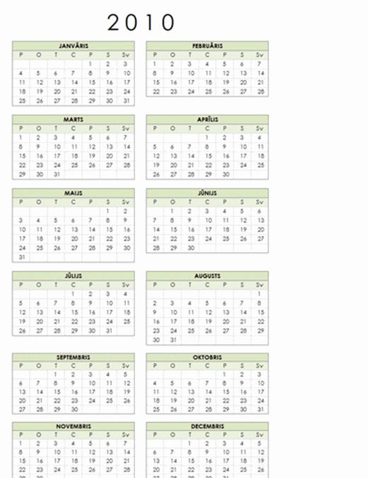 2010. gada kalendārs (12 lpp., pamata, pirmdiena – svētdiena)