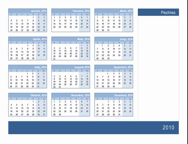 2010. gada kalendārs ar vietu piezīmēm (1 lapa, pirmd.–svētd.)