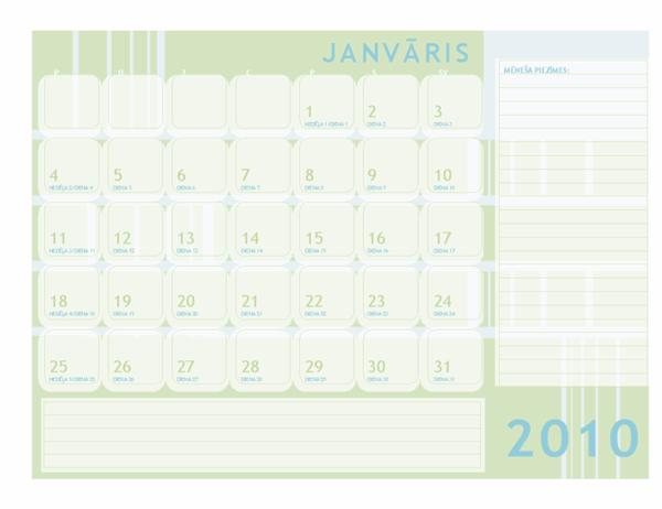 2010. gada Jūlija kalendārs (pirmd.–svētd.)