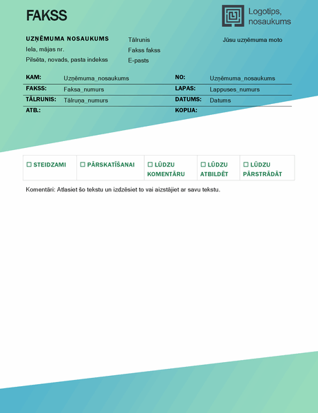Faksa titullapa (zaļa gradienta noformējums)