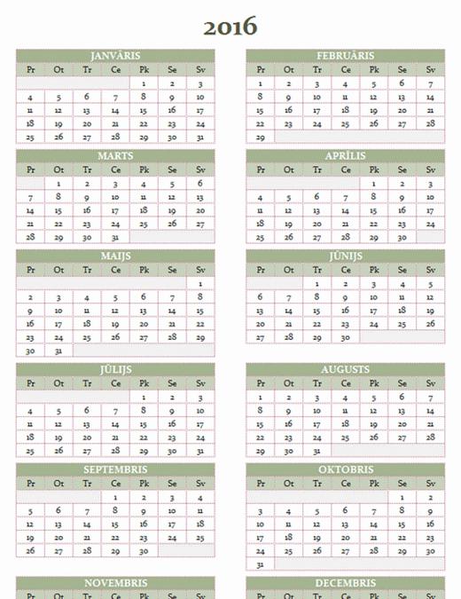 2016.–2025.gada kalendārs (no pirmdienas līdz svētdienai)