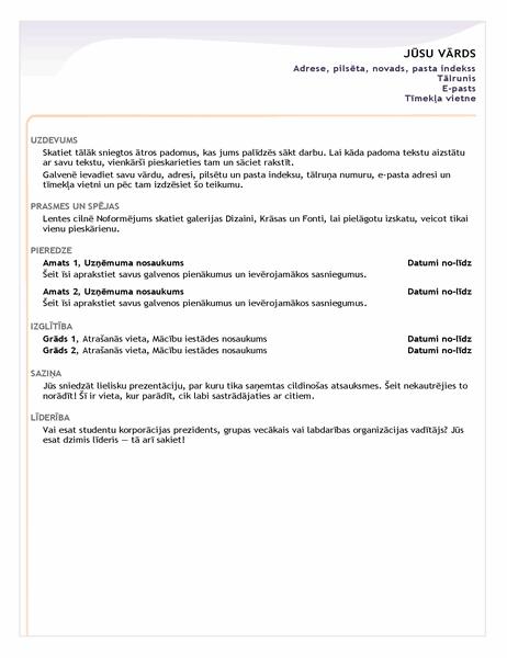 Sākuma līmeņa CV