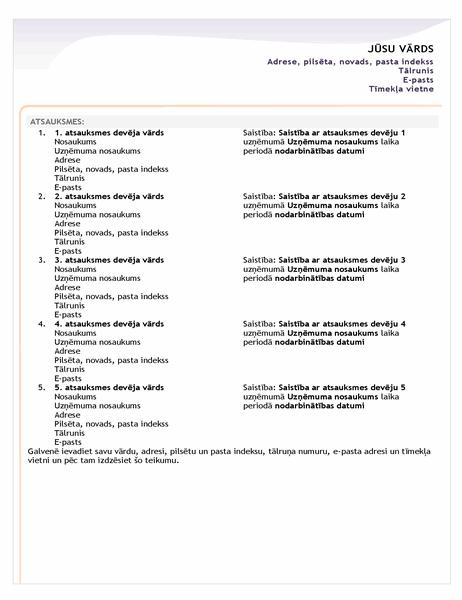 Sākuma līmeņa CV atsauču lapa