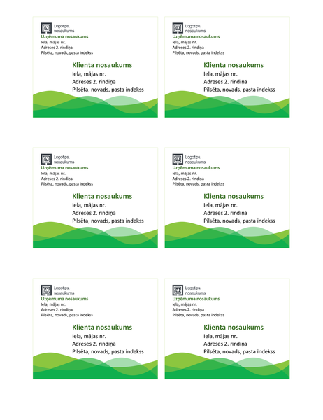Nosūtīšanas uzlīmes (zaļa viļņa noformējums, 6vienā lappusē)
