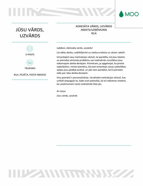 Radoša motivācijas vēstule, ko veidoja MOO