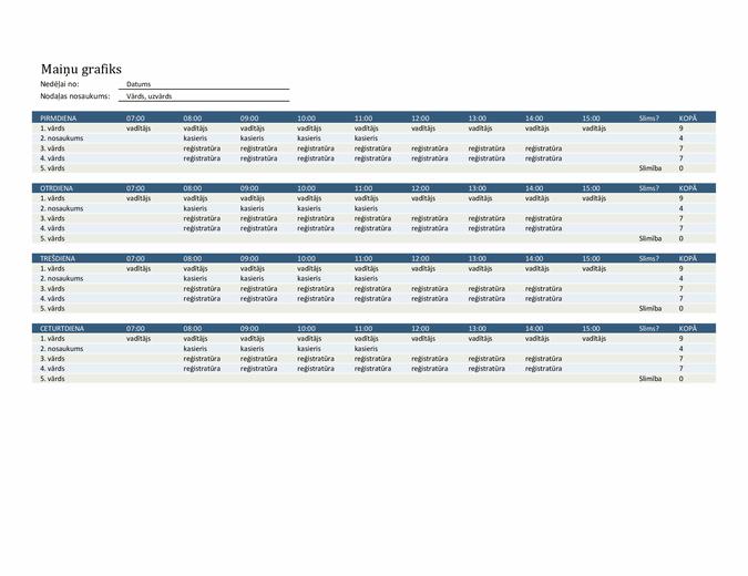 Darbinieku maiņu grafiks