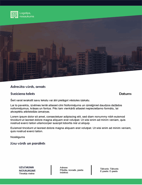 Biznesa vēstule (zaļa meža noformējums)