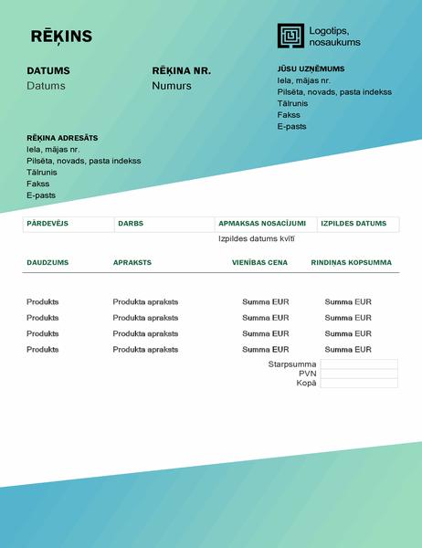 Pakalpojumu rēķins (zaļa gradienta noformējums)
