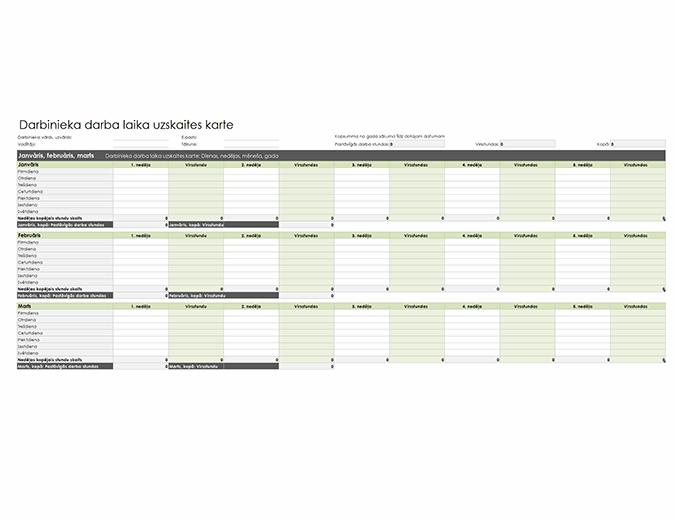 Darbinieka darba laika uzskaites karte (dienai, nedēļai, mēnesim un gadam)