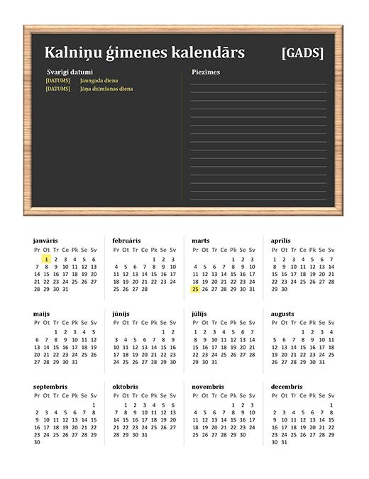Ģimenes kalendārs (jebkurš gads, P–Sv)