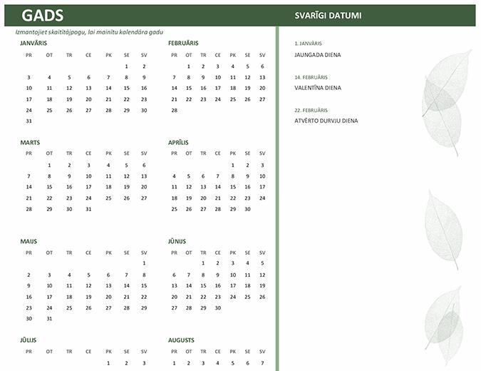 Darba kalendārs (jebkurš gads, P-Sv)