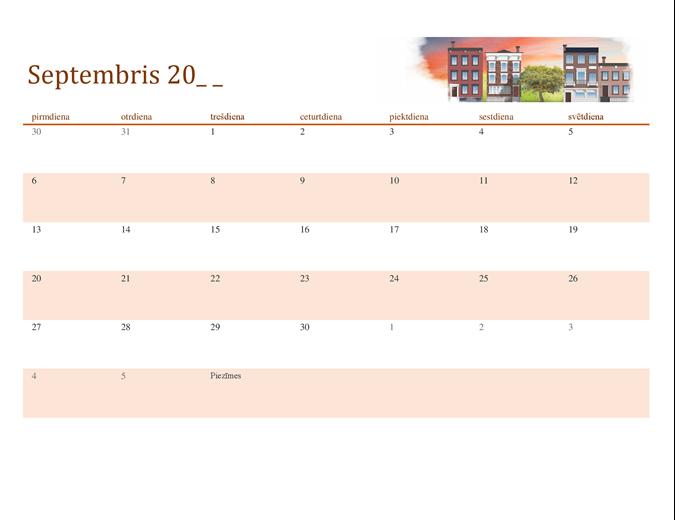 Sezonāls, ilustrēts kalendārs jebkuram gadam