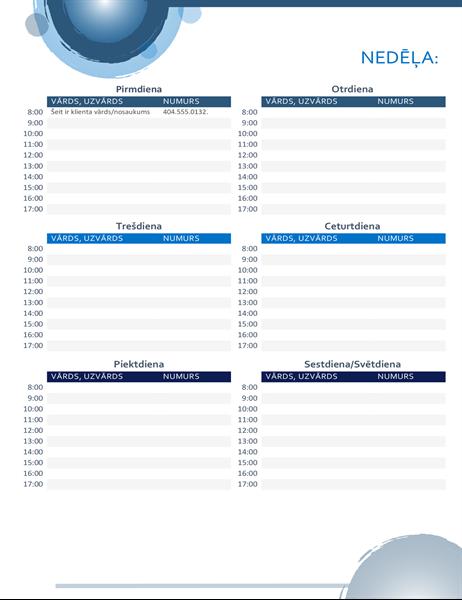 Tikšanos kalendārs ar ziliem apļiem