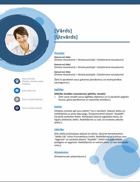 CV ar ziliem apļiem