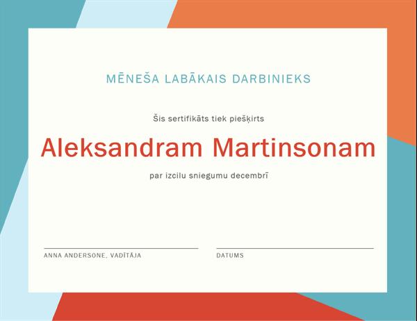 Mēneša darbinieka sertifikāts