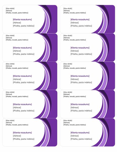 Purpursarkanas piegādes adreses uzlīmes (10gab. vienā lappusē)