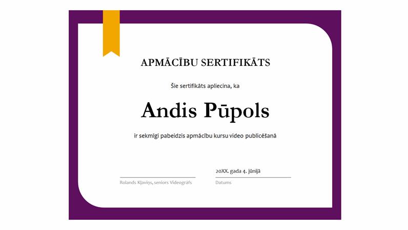 Apmācības sertifikāts
