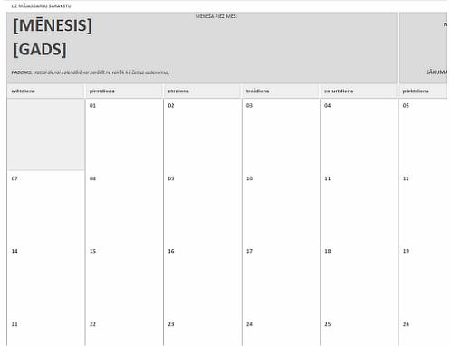 Mājasdarbu kalendārs