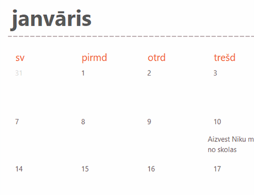 Kalendāra cilnes jebkuram gadam (balts)
