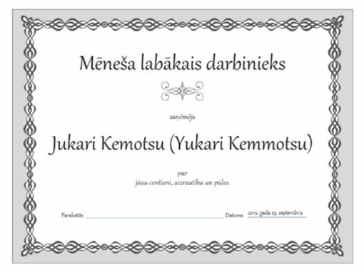 Mēneša darbinieka sertifikāts (pelēkas ķēdes noformējums)