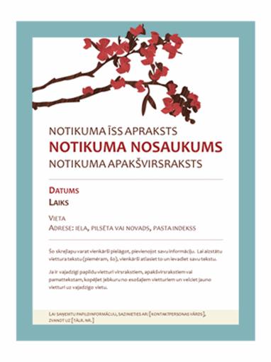 Pavasarīga skrejlapa (noformējums ar ziedošu zaru)